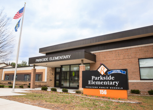 The brown and black Parkside Elementary building