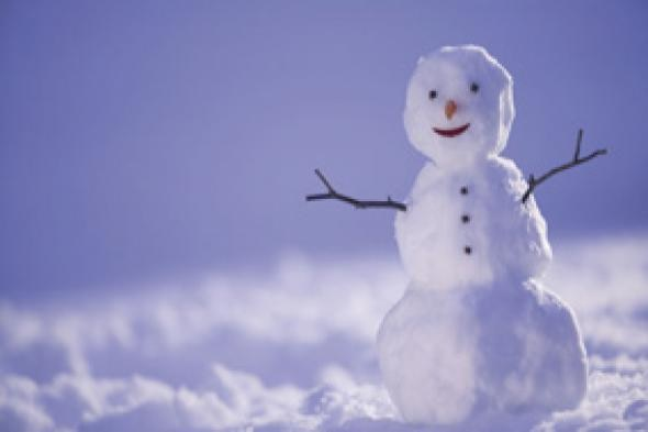 A smiling snowman that wants to make sure you're building a snow fort