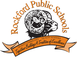 Rockford ram log, with Rockford Public Schools wrapping hover its head