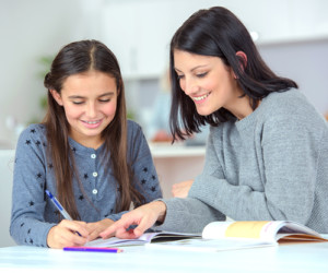Mom and daughter learning together
