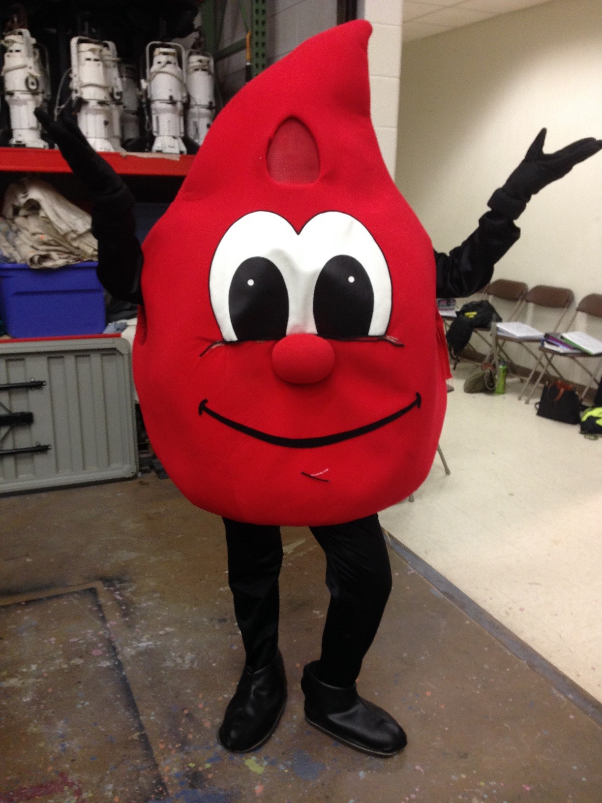 Michigan Blood Drive Mascot, person dressed as drop of blood